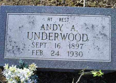 UNDERWOOD, ANDY A. - Conway County, Arkansas | ANDY A. UNDERWOOD - Arkansas Gravestone Photos