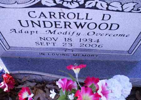 UNDERWOOD, CARROLL D. - Conway County, Arkansas | CARROLL D. UNDERWOOD - Arkansas Gravestone Photos