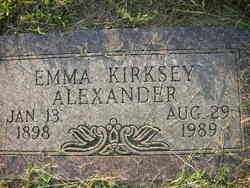 KIRKSEY ALEXANDER, EMMA - Crawford County, Arkansas | EMMA KIRKSEY ALEXANDER - Arkansas Gravestone Photos