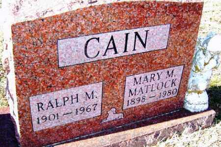 MATLOCK CAIN, MARY M - Crawford County, Arkansas | MARY M MATLOCK CAIN - Arkansas Gravestone Photos