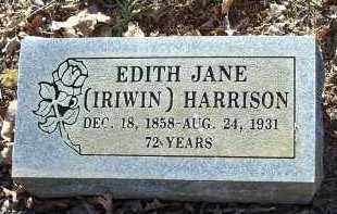 IRIWIN HARRISON, EDITH JANE - Crawford County, Arkansas   EDITH JANE IRIWIN HARRISON - Arkansas Gravestone Photos