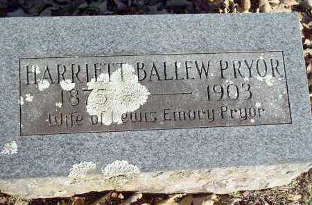 BALLEW PRYOR, HARRIETT - Crawford County, Arkansas | HARRIETT BALLEW PRYOR - Arkansas Gravestone Photos