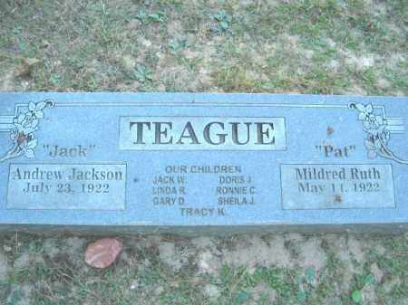 "TEAGUE, ANDREW JACKSON ""JACK"" - Crawford County, Arkansas | ANDREW JACKSON ""JACK"" TEAGUE - Arkansas Gravestone Photos"