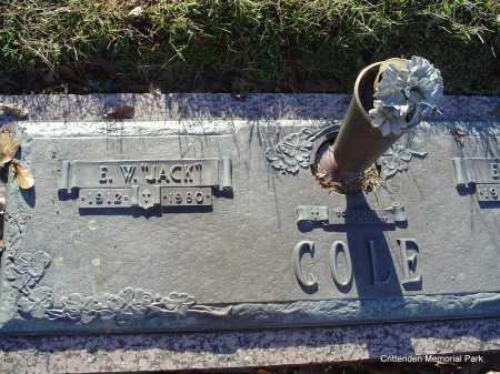 "COLE, E W ""JACK"" - Crittenden County, Arkansas | E W ""JACK"" COLE - Arkansas Gravestone Photos"