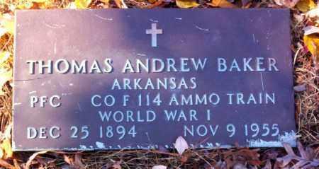 BAKER  (VETERAN WWI), THOMAS ANDREW - Cross County, Arkansas | THOMAS ANDREW BAKER  (VETERAN WWI) - Arkansas Gravestone Photos