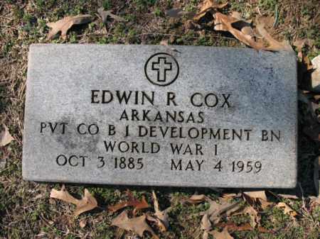 COX (VETERAN WWI), EDWIN R - Cross County, Arkansas | EDWIN R COX (VETERAN WWI) - Arkansas Gravestone Photos