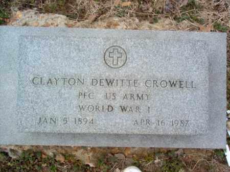 CROWELL (VETERAN WWI), CLAYTON DEWITTE - Cross County, Arkansas   CLAYTON DEWITTE CROWELL (VETERAN WWI) - Arkansas Gravestone Photos