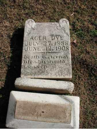 DYE, AGER - Cross County, Arkansas   AGER DYE - Arkansas Gravestone Photos
