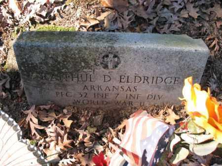 ELDRIDGE (VETERAN WWII), RAITHUL D - Cross County, Arkansas | RAITHUL D ELDRIDGE (VETERAN WWII) - Arkansas Gravestone Photos