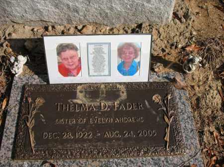 FADER, THELMA D - Cross County, Arkansas | THELMA D FADER - Arkansas Gravestone Photos