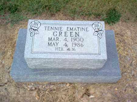 GREEN, TENNIE EMATINE - Cross County, Arkansas   TENNIE EMATINE GREEN - Arkansas Gravestone Photos