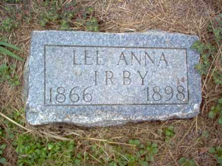 IRBY, LEE ANNA - Cross County, Arkansas | LEE ANNA IRBY - Arkansas Gravestone Photos