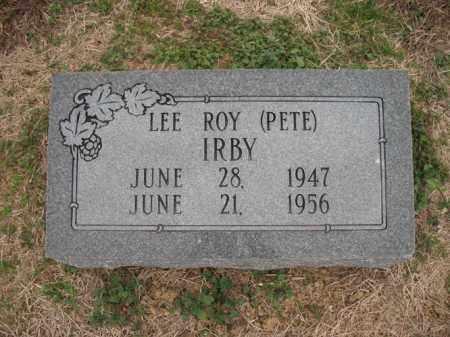 "IRBY, LEE ROY ""PETE"" - Cross County, Arkansas   LEE ROY ""PETE"" IRBY - Arkansas Gravestone Photos"