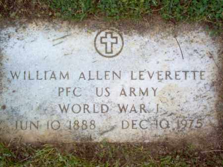 LEVERETTE (VETERAN WWI), WILLIAM ALLEN - Cross County, Arkansas | WILLIAM ALLEN LEVERETTE (VETERAN WWI) - Arkansas Gravestone Photos