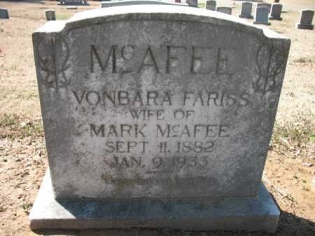 FARISS MCAFEE, VONBARA - Cross County, Arkansas | VONBARA FARISS MCAFEE - Arkansas Gravestone Photos