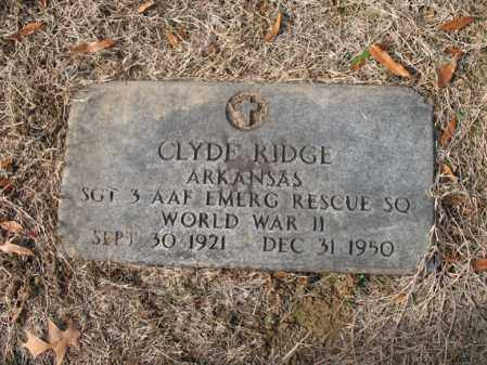 RIDGE (VETERAN WWII), CLYDE - Cross County, Arkansas | CLYDE RIDGE (VETERAN WWII) - Arkansas Gravestone Photos