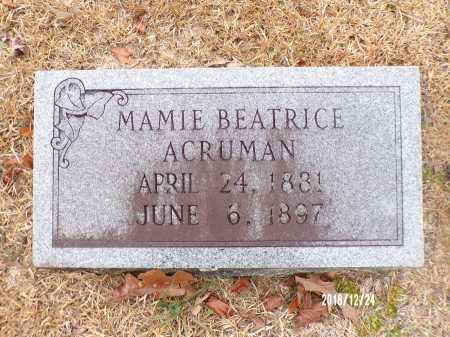 ACRUMAN, MAMIE BEATRICE - Dallas County, Arkansas | MAMIE BEATRICE ACRUMAN - Arkansas Gravestone Photos