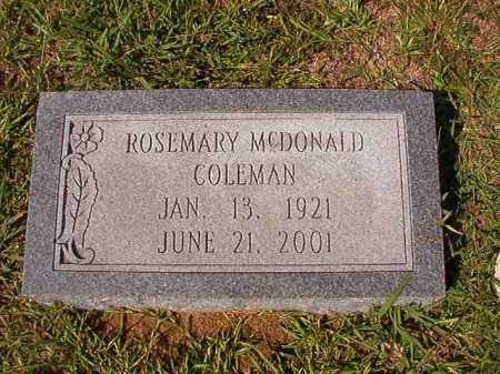 MCDONALD COLEMAN, ROSEMARY - Dallas County, Arkansas | ROSEMARY MCDONALD COLEMAN - Arkansas Gravestone Photos