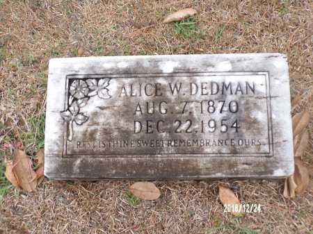 DEDMAN, ALICE W - Dallas County, Arkansas | ALICE W DEDMAN - Arkansas Gravestone Photos