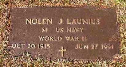 LAUNIUS (VETERAN WWII), NOLEN J - Dallas County, Arkansas   NOLEN J LAUNIUS (VETERAN WWII) - Arkansas Gravestone Photos