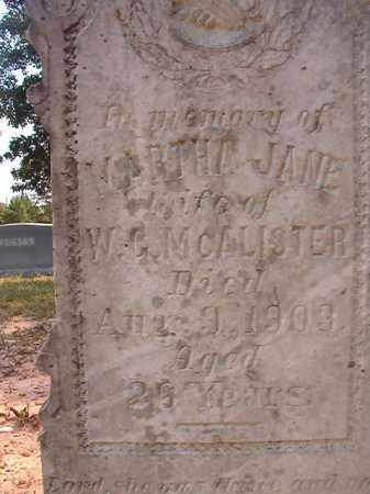 MCALISTER, MARTHA JANE - Dallas County, Arkansas | MARTHA JANE MCALISTER - Arkansas Gravestone Photos