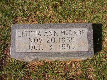 MCDADE, LETITIA ANN - Dallas County, Arkansas   LETITIA ANN MCDADE - Arkansas Gravestone Photos