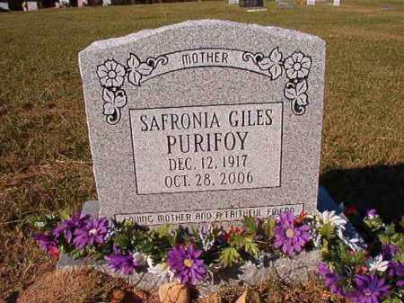 GILES PURIFOY, SAFRONIA - Dallas County, Arkansas | SAFRONIA GILES PURIFOY - Arkansas Gravestone Photos