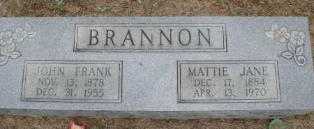 BRANNON, JOHN FRANK - Faulkner County, Arkansas | JOHN FRANK BRANNON - Arkansas Gravestone Photos