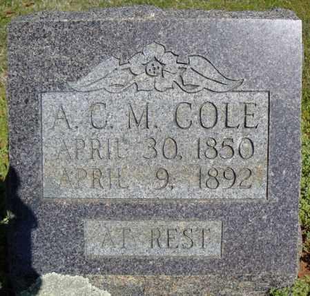COLE, A.C.M. - Faulkner County, Arkansas   A.C.M. COLE - Arkansas Gravestone Photos