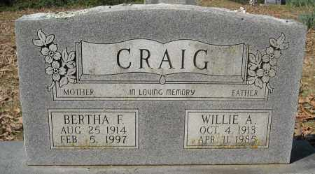 CRAIG, WILLIE A. - Faulkner County, Arkansas | WILLIE A. CRAIG - Arkansas Gravestone Photos