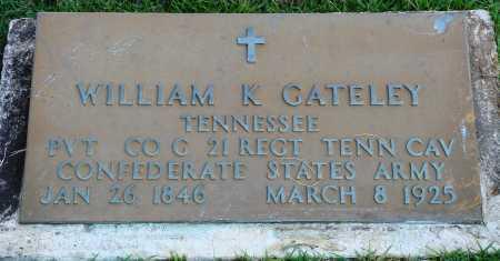 GATELEY  (VETERAN CSA), WILLIAM K - Faulkner County, Arkansas   WILLIAM K GATELEY  (VETERAN CSA) - Arkansas Gravestone Photos