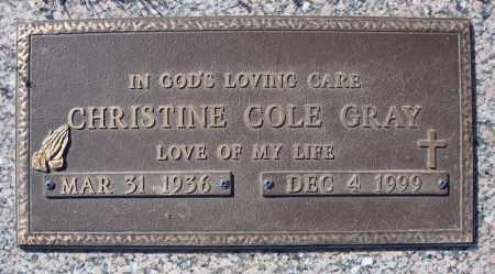 COLE GRAY, CHRISTINE - Faulkner County, Arkansas   CHRISTINE COLE GRAY - Arkansas Gravestone Photos