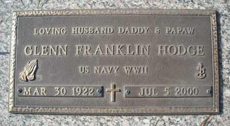 HODGE (VETERAN WWII), GLENN FRANKLIN - Faulkner County, Arkansas | GLENN FRANKLIN HODGE (VETERAN WWII) - Arkansas Gravestone Photos