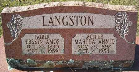 LANGSTON, MARTHA ANNIE - Faulkner County, Arkansas | MARTHA ANNIE LANGSTON - Arkansas Gravestone Photos