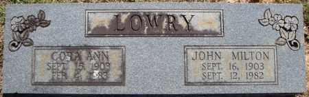 LOWRY, JOHN MILTON - Faulkner County, Arkansas | JOHN MILTON LOWRY - Arkansas Gravestone Photos