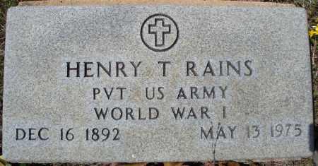 RAINS (VETERAN WWI), HENRY THOMAS - Faulkner County, Arkansas | HENRY THOMAS RAINS (VETERAN WWI) - Arkansas Gravestone Photos