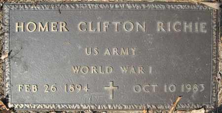 RICHIE (VETERAN WWI), HOMER CLIFTON - Faulkner County, Arkansas | HOMER CLIFTON RICHIE (VETERAN WWI) - Arkansas Gravestone Photos