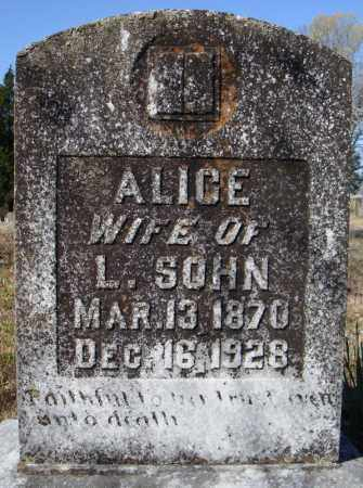 SOHN, ALICE - Faulkner County, Arkansas   ALICE SOHN - Arkansas Gravestone Photos