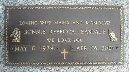 TEASDALE, BONNIE REBECCA - Faulkner County, Arkansas   BONNIE REBECCA TEASDALE - Arkansas Gravestone Photos