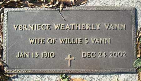 WEATHERLY VANN, VERNIECE - Faulkner County, Arkansas | VERNIECE WEATHERLY VANN - Arkansas Gravestone Photos