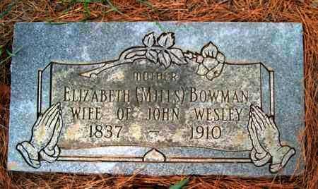 MILLS BOWMAN, ELIZABETH - Franklin County, Arkansas | ELIZABETH MILLS BOWMAN - Arkansas Gravestone Photos