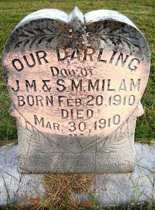 MILAM, INFANT DAUGHTER - Franklin County, Arkansas | INFANT DAUGHTER MILAM - Arkansas Gravestone Photos