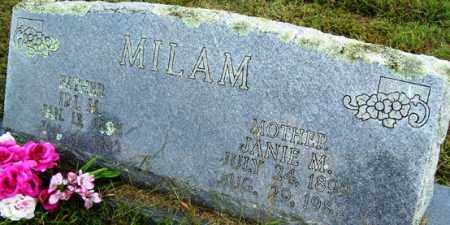 MILAM, JANIE M - Franklin County, Arkansas | JANIE M MILAM - Arkansas Gravestone Photos