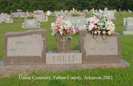 FOUST, DELPHIA - Fulton County, Arkansas | DELPHIA FOUST - Arkansas Gravestone Photos