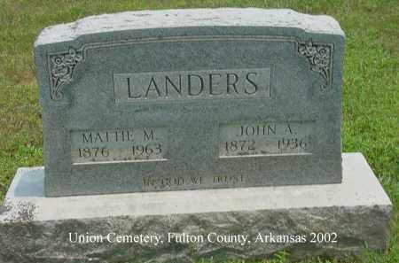 "LANDERS, JOHN ALEXANDER ""ALEX"" - Fulton County, Arkansas   JOHN ALEXANDER ""ALEX"" LANDERS - Arkansas Gravestone Photos"