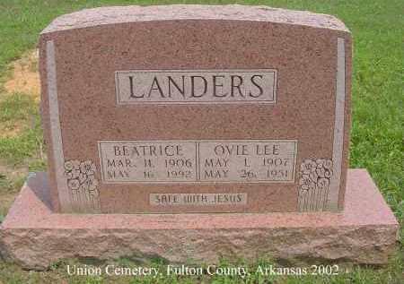 LANDERS, OVIE LEE - Fulton County, Arkansas | OVIE LEE LANDERS - Arkansas Gravestone Photos