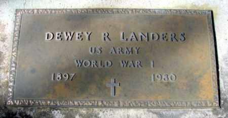 LANDERS (VETERAN WWI), DEWEY R - Fulton County, Arkansas   DEWEY R LANDERS (VETERAN WWI) - Arkansas Gravestone Photos