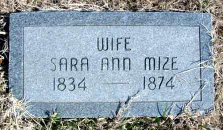 MIZE, SARA ANN - Fulton County, Arkansas | SARA ANN MIZE - Arkansas Gravestone Photos