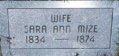 MIZE, SARA ANN - Fulton County, Arkansas | SARA ANN MIZE - Arkansas Gravestone Photos