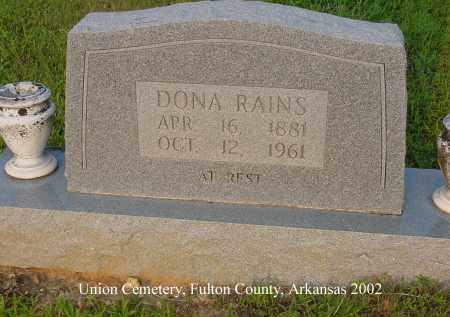RAINS, DONNA - Fulton County, Arkansas   DONNA RAINS - Arkansas Gravestone Photos